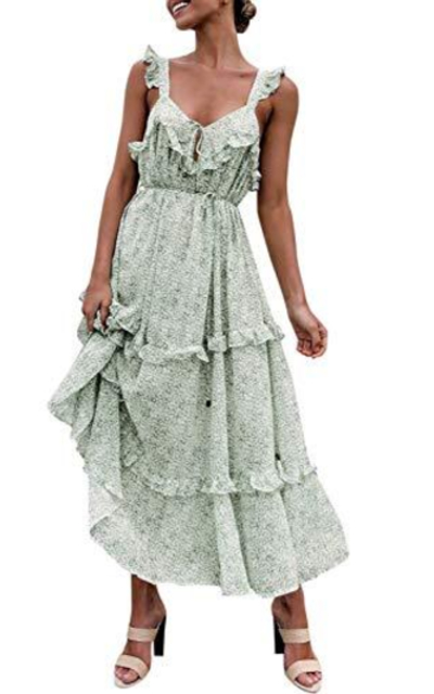 MsLure Floral Ruffle Dress Boho A-line Sundress