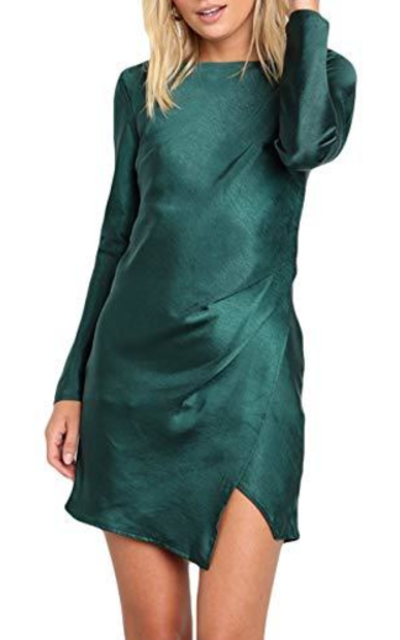 Gmeitoey Solid Color Satin Mini Dress