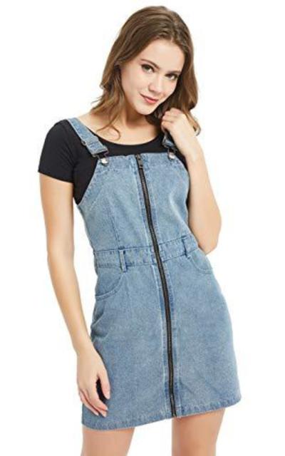 Tronjori Zip Overall Denim Skirt Dress