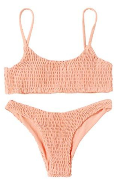 SweatyRocks Shirred Bikini Swimsuit