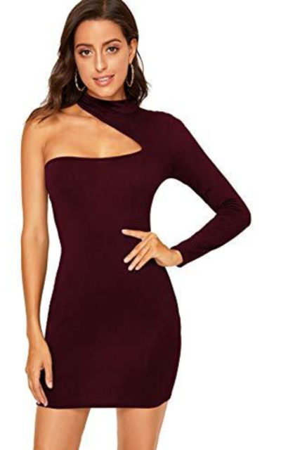 ROMWE One Shoulder Cut Out Mock Neck Bodycon Mini Dress