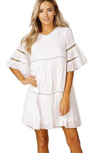 Listicle Bell Sleeves Ruffle Babydoll Dress