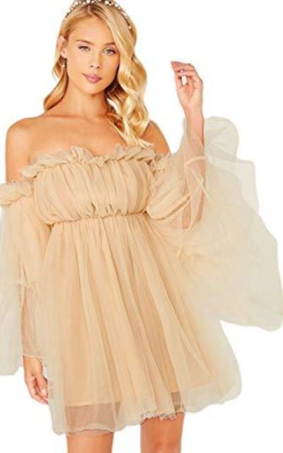 ROMWE Romantic Off Shoulder Flounce Mesh Mini Dress