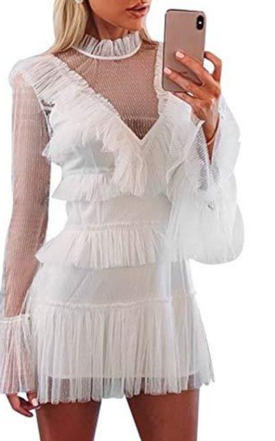 Simplee Tulle Mesh Ruffle Mini Dress