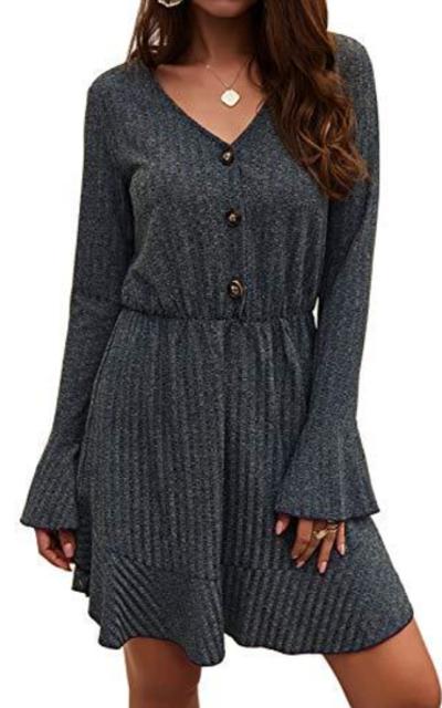FZ FANTASTIC ZON Ruffle Long Sleeve Mini Dress