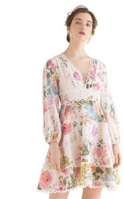 Chicwish Only in Dreams Floral Printed Crochet Dress