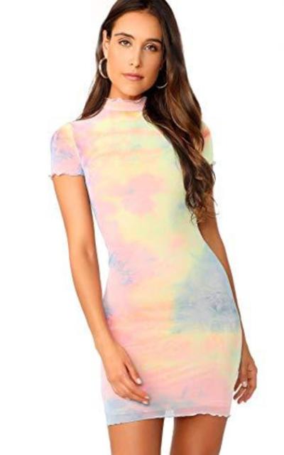 Floerns Sheer Mesh Tie Dye Dress