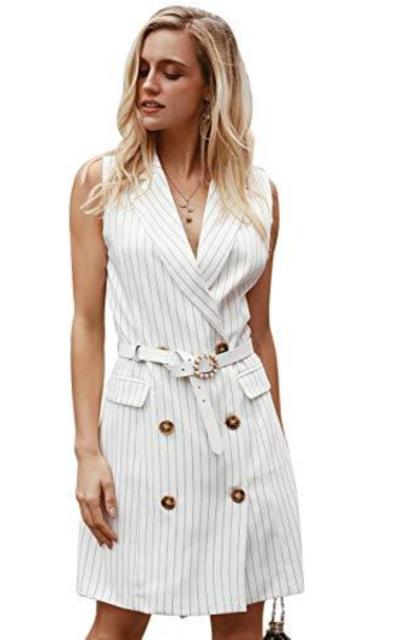 Sollinarry Stripe Sleeveless Blazer Dress