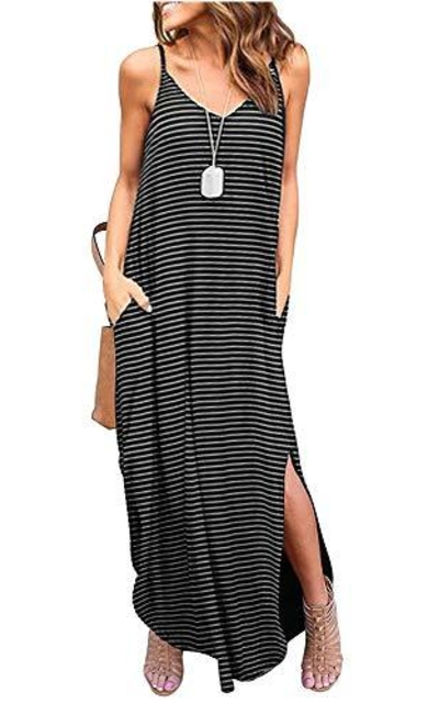 ETCYY Casual Stripe Beach Maxi Dress