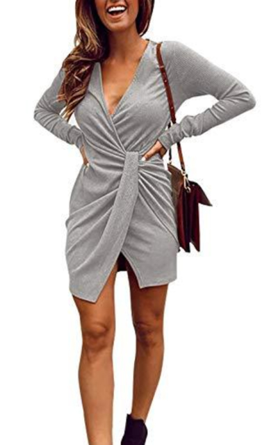 Limtery V Neck Ribbed Mini Dress