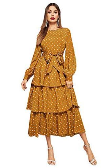 ROMWE Ruffle Hem Midi Dress