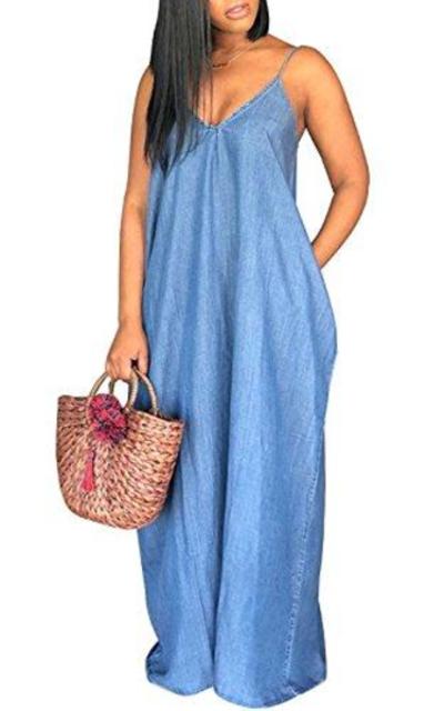 Chuanqi Denim Maxi Dress