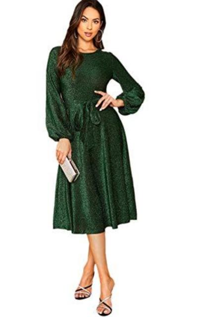 Verdusa Bishop Belted Glitter Party Dress