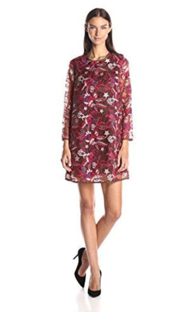 Just Cavalli Floral Embroidered Shift Dress