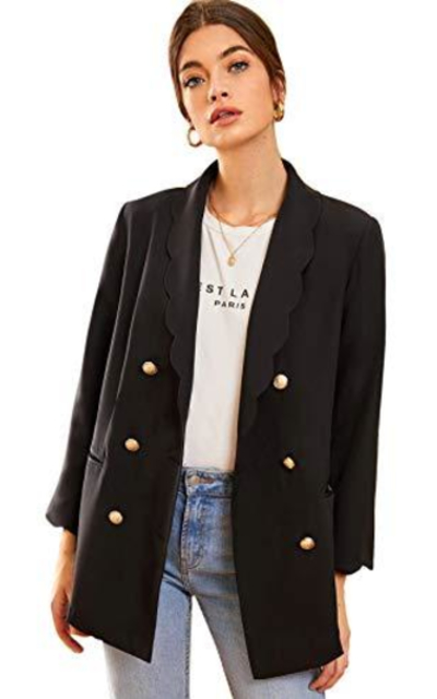 Verdusa Scalloped Lapel Blazer