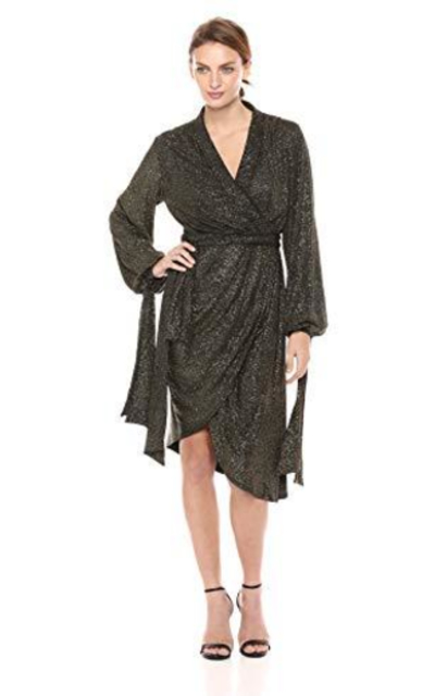 C/Meo Collective Alight Sparkle Knit Draped Wrap Dress