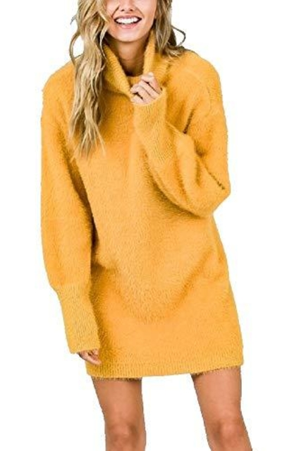 RBBK Super Soft Mohair Long Sleeve Turtleneck Sweater Dress