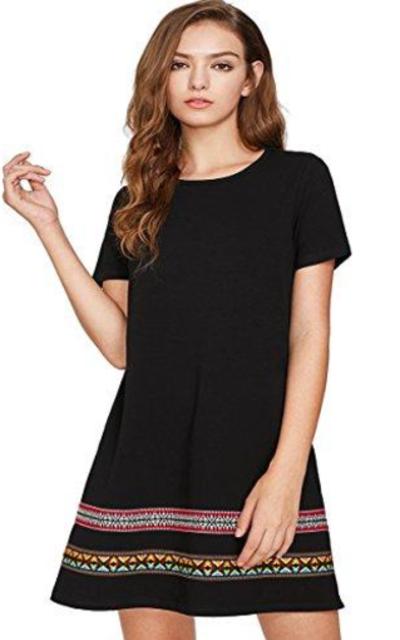Romwe Boho Embroidered Hem T-Shirt Dress