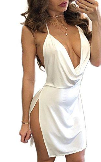 VANCOLHalter Backless Slit Mini Dress