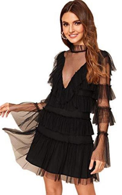 Romwe  Dot Mesh Ruffle Mini Dress