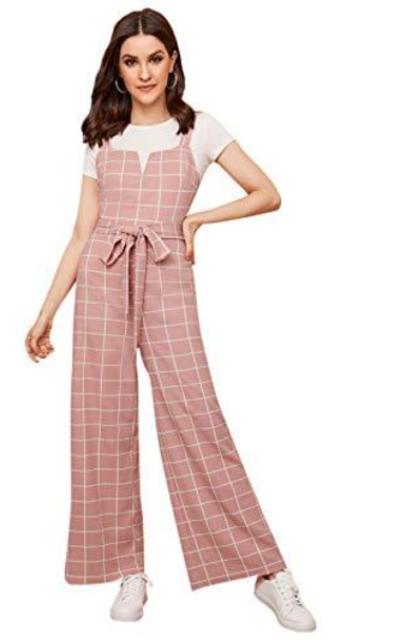 Verdusa Grid Print Wide Leg Jumpsuit Overalls