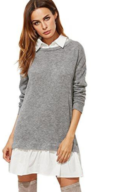 SheIn Color Block 2 in 1 Basic Sweater Dress