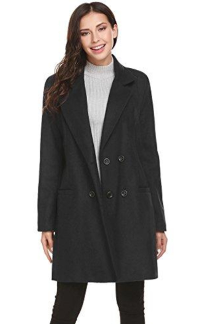 HOTOUCH Solid Classic Pea Coat