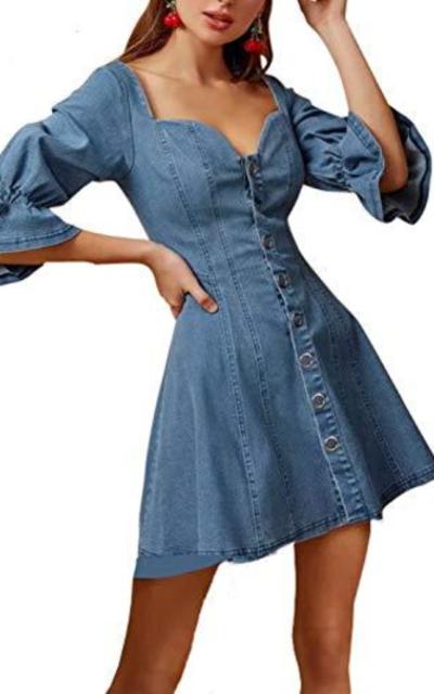 Zandiceno Denim Puff Sleeve Mini Dress