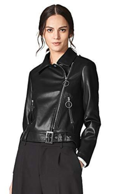 Escalier Short PU Leather Moto Jacket
