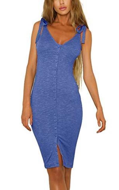 Eliacher Button Down Adjustable Bodycon Dress