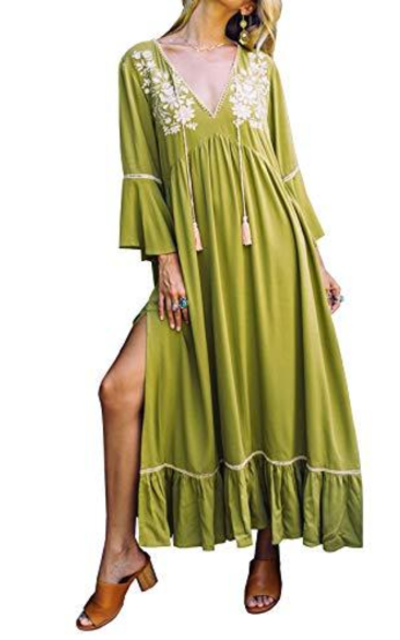 R.Vivimos 3/4 Sleeves V Neck Embroidered Ruffles Midi Dress