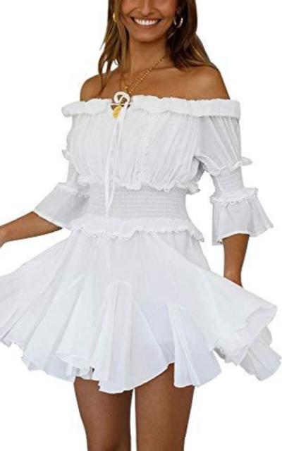 ETCYY Off Shoulder Ruffle Mini Dress