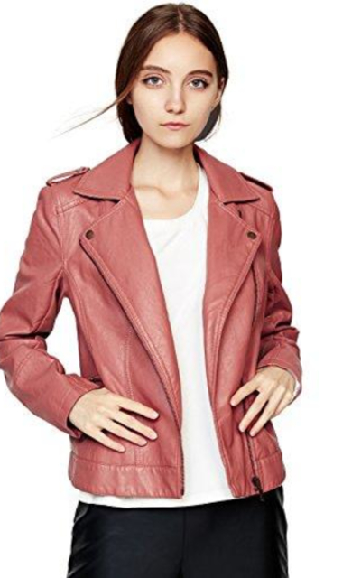 Escalier Classic Slim Faux Leather Moto Jacket