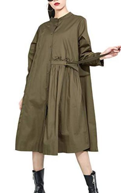 ellazhu  Baggy Long Sleeve Green Button-Down Swing Shirtdress