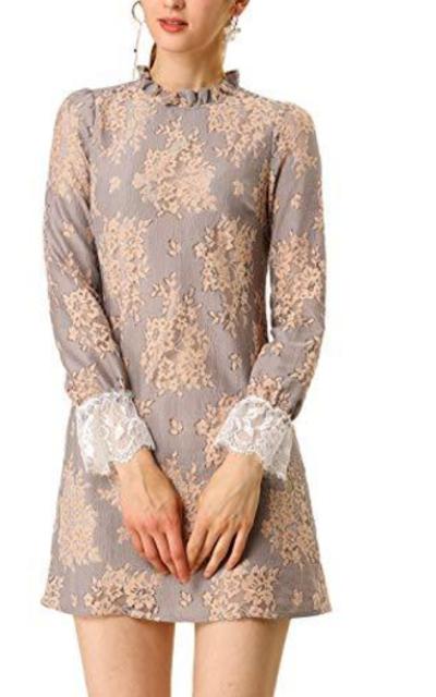 Allegra K Ruffle Crew Neck Mini Floral Lace Dress