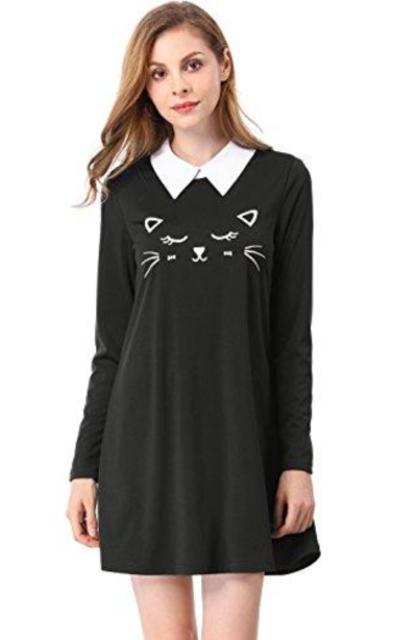Allegra K Cat Face Print Dress