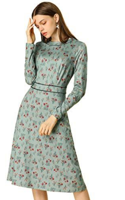 Allegra K Floral Long Sleeve Vintage Dress