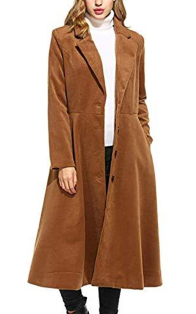 Palazen Single Breasted Long Trench Coat