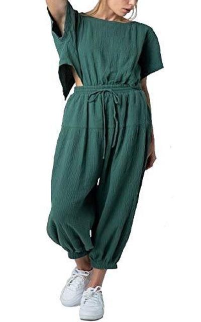 RBBK Crinkly Cotton Open Back Harem Pants Jumpsuit