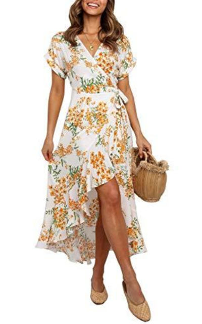 ZESICA Bohemian Floral Printed Wrap Maxi Dress
