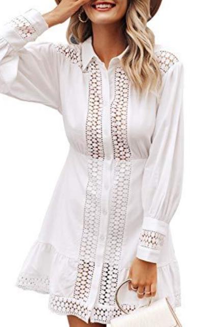 Miessial Lace Ruffle Mini Dress