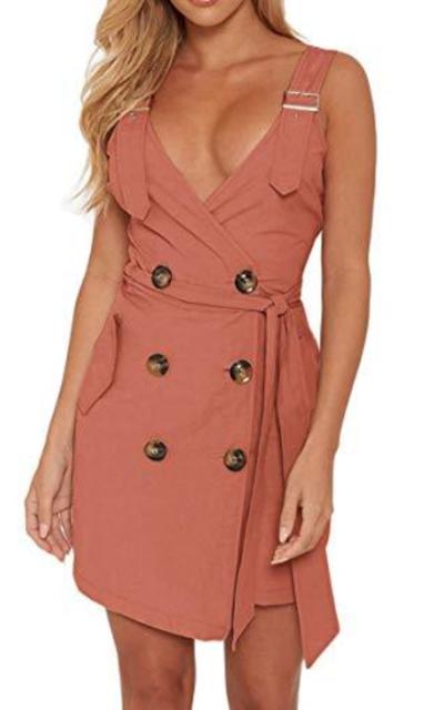 WenHong Adjustable Strap Mini Dress