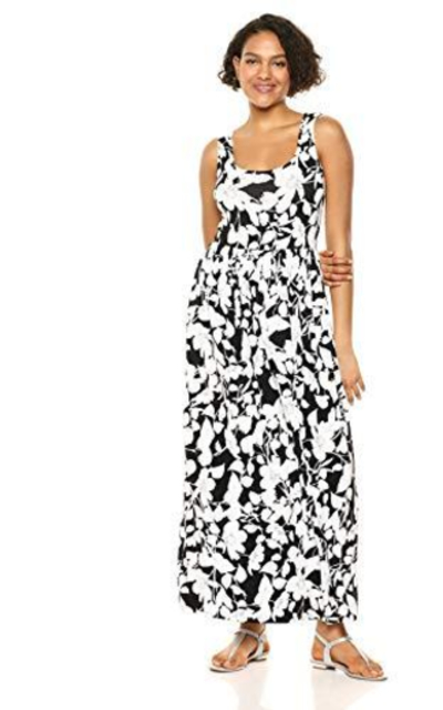 Amazon Essentials Patterned Tank Waisted Maxi Dress