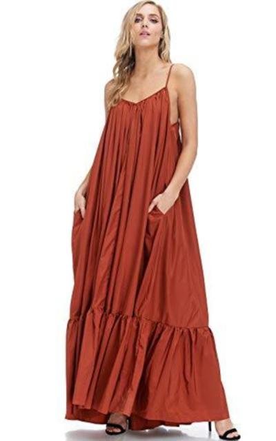 Tov Elegance A-Line Spaghetti Strap Flowy Maxi Dress