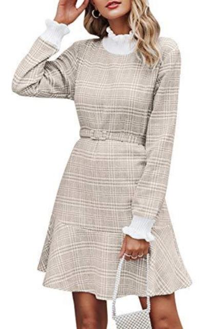 MsLure Plaid Knit Mini Dress