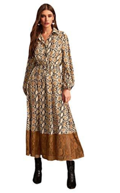 Verdusa Snakeskin Print Button Up Contrast Lace Maxi Dress
