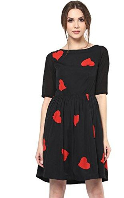 Roving Mode Heart Print A-Line Dress Medium Black