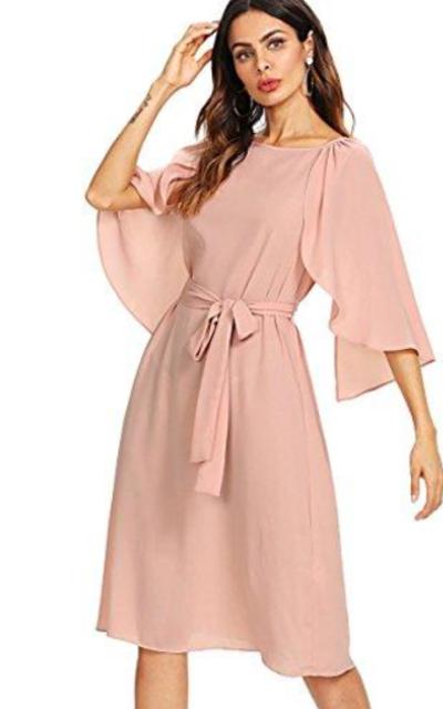 Milumia Cap Sleeve Belted Dress
