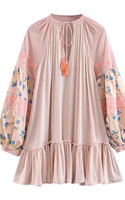 R.Vivimos  Embroidery Mini Short Dress