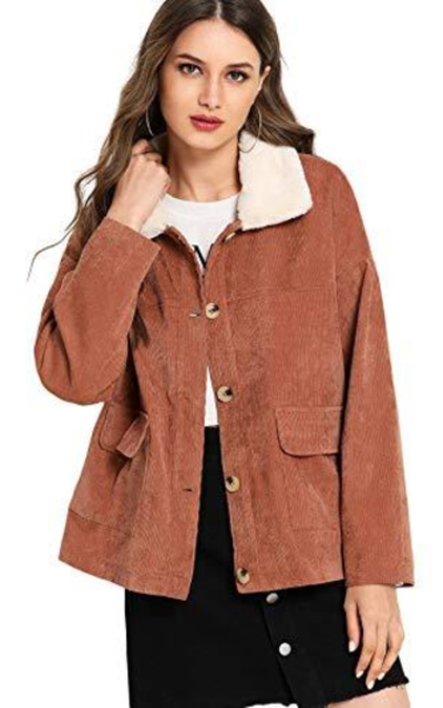 ROMWE Casual Fur Collar Button DownCorduroy Jacket